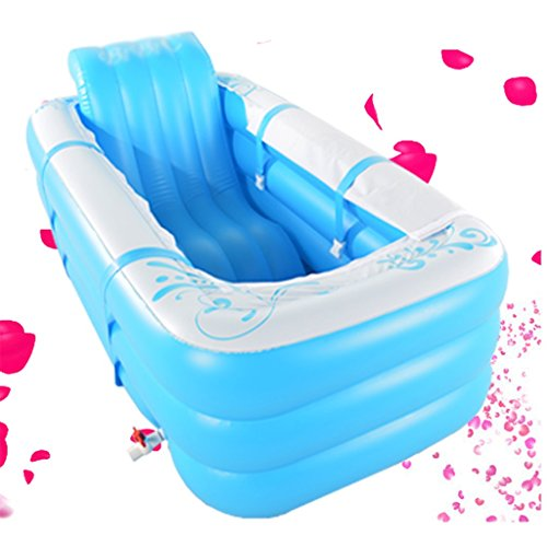 Double large inflatable bathtub adult can sit lie down can be folded ( Color : Blue )