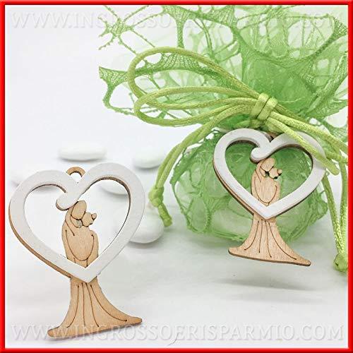 Ingrosso e risparmio 12 ciondoli a forma di cuore con sposini stilizzati in legno applicazioni, decorazioni bomboniere nozze anniversario (senza confezionamento)