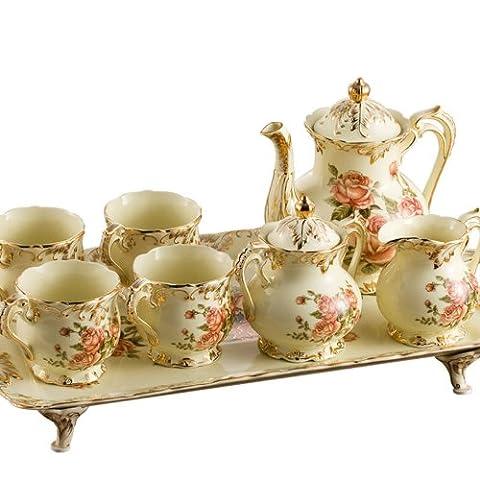 Ufingo-8 Piece Creative European England Luxury Hand Painted Red And Gold Rose Flower Ivory Porcelain Ceramic Coffee Set Tea Set Tea Service For