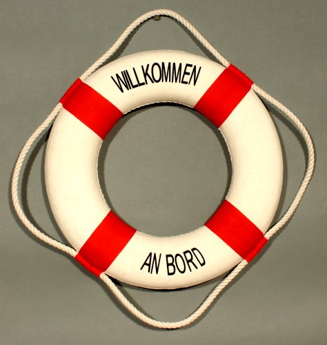 Deko Rettungsring rot/weiß Willkommen an Bord 35cm