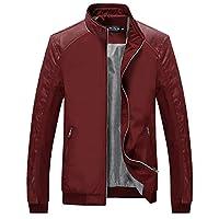 Tanming Men's Color Block Slim Casual Jacket (Small, Red)
