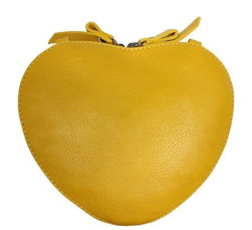 Schöne praktische leder Cuore Verde über die Schulter Gelb