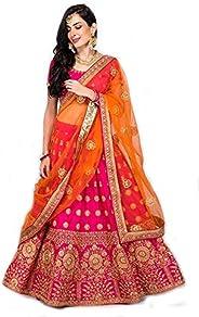 Fast Fashions Women's Satin Lehenga Choli (FF-5075, Pink, Free S