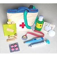 Valigia dottore bambini in stoffa con accessori in feltro