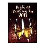 15 x Neujahrs-Karten (Sektgläser) im Postkarten Format mit Umschlag/Weihnachten / Sylvester / 2019 / Neues Jahr/Silvester