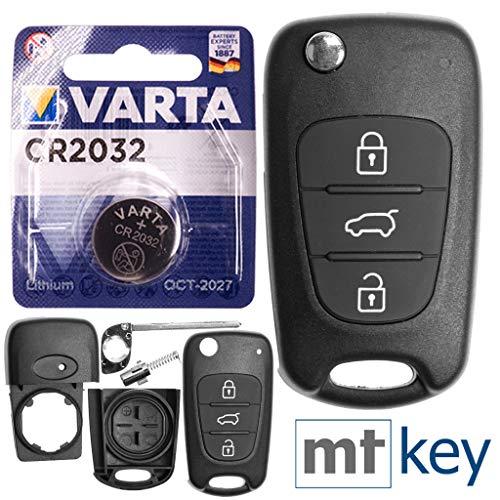 Kia Chiave per auto radiocomandata di ricambio con 3 tasti + grezzo + batteria per Kia Rio III Ceed I Sportage III Sorento II Soul I