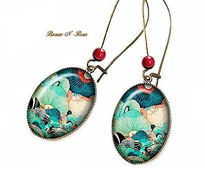 Boucles d'oreilles Rêve marin cabochon bleu la mer bronze bijou verre