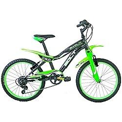 "Frejus 20"" CTB Bicicleta, Niños, Negro/Verde, XS"