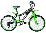 "Frejus 20"" CTB Bicicleta, Niños, Negro / Verde, XS"
