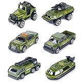 T.H. Mini Veicoli in pressofuso Militare in Lega di Metallo Modelli Militari Giocattoli di Automobile per Bambini, 6 Pezzi