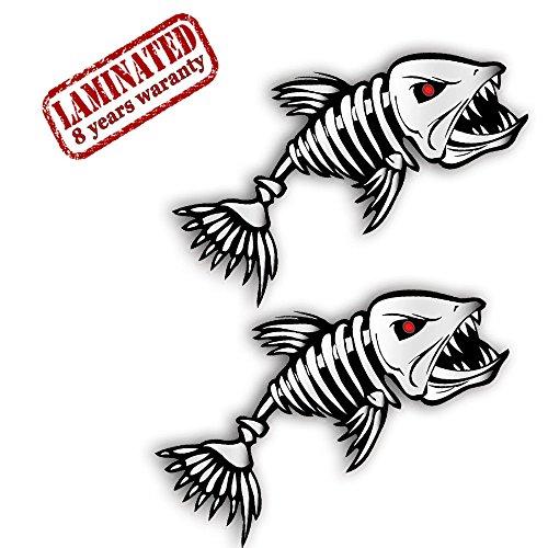 2 Stück Vinyl Aufkleber Autoaufkleber Fisch Skelett Knochen Fischen Meerestier Fischerboot Stickers Spiegel Auto Moto Motorrad Fahrrad Helm Fenster Tür Tuning B 110