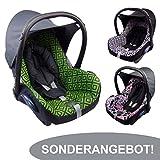 BAMBINIWELT Ersatzbezug für Maxi-Cosi CabrioFix 6-tlg, Bezug für Babyschale, Komplett-Set, SONDERANGEBOT (schwarz pinke Tiere)