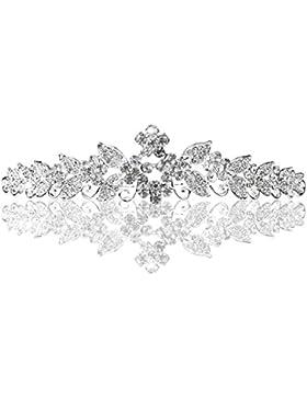 PIXNOR de la boda diamantes de imitación de novia Tiara corona diadema de peine (plata)