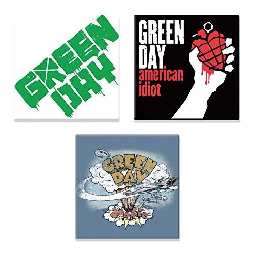 Green Day 3 x Kühlschrankmagnet band logo Nue offiziell Gift - Hat Day Green