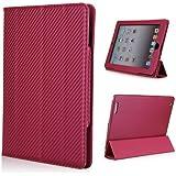 Etui cuir avec support TV design carbone rose pour Apple iPad 2/3/4
