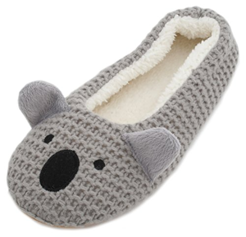 Slumberzzz Ladies Knitted Animal Character Ballet Slippers Grey Koala 5-6 UK