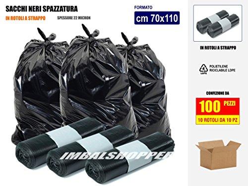 SACCHI SPAZZATURA NERI IN PLASTICA PE-LD Cm 70x110 (110 litri) - SCATOLA DA 100 SACCHETTI
