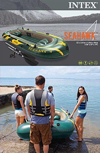 Intex Seahawk 4 Schlauchboot mit Aussenbordmotor + Heckspiegel + Paddel, Pumpe set für 4 Personen Komplettset -