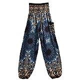 MORCHAN  Hommes Femmes thaïlandais Harem Pantalons Boho Festival Hippy Smock Taille Haute Pantalons de Yoga Jeans Combinaisons Pantalon Court Collants Leggings Knickerbockers(Taille Libre,Noir)