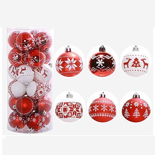 FeiliandaJJ 24PCS 6CM Weihnachtskugel Boxed Gemalt Kugel Weihnachten Deko Anhänger Christbaumkugeln für Weihnachtsbaum Party Home Hochzeit (rot)