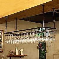 BTJJ Hierro Retro Estilo Industrial Bar Restaurante Colgante Titular de la Taza Bar Decoración Wine Racks Wine Holder Holder Hanging Cup Holder (Color : Black, Tamaño : 90*35cm)