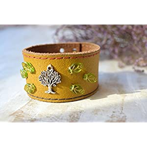 Baum des Lebens Leder armband Manschette