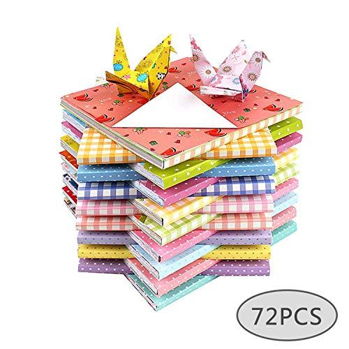 72 Blatt Platz 12 Sorten Origami Dekor Bastelpapier DIY Handgefertigtes Origami 1-seitiges Druckmuster Buntes Origami 15 * 15cm