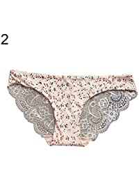 bd278cf6ac24 bigcity Leopard Flower Low Rise Ice Silk Lace Panties Women Seamless Briefs  Underwear