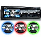 XOMAX XM-CDB619 Autoradio avec Lecteur de CD + Connexion Bluetooth + 3 couleurs d'éclairage (rouge, bleu, vert) + Port USB (jusqu'à 128 GB) et fente pour cartes Micro SD (jusqu'à 128 GB) pour fichiers MP3 et WMA + Entrée AUX + Protection antivol: La façade est amovible + Dimensions standard DIN simple (1DIN) + Télécommande, Housse de rangement et tiroir métallique inclus