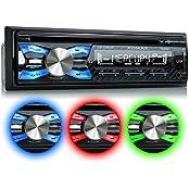 XOMAX XM-CDB619 Autoradio mit CD-Player + Bluetooth-Freisprecheinrichtung & Musikwiedergabe + 3 Farben einstellbar (Rot, Blau, Grün) + USB-Anschluss (bis 128 GB) & SD-Kartenslot (bis 128 GB) für MP3 und WMA + AUX-IN + Diebstahlschutz: abnehmbares