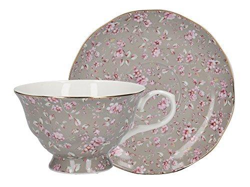 Katie Alice Ditsy Floral Graue Tasse mit Untersetzer, aus edlem Porzellan, - Tasse: 200 ml (7 fl oz)