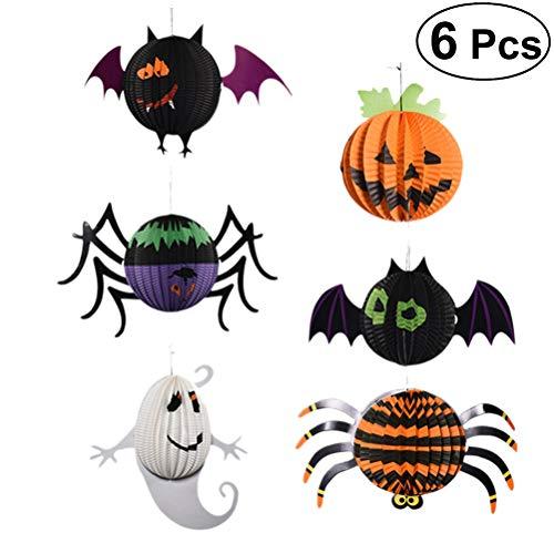 YeahiBaby Papierlaternen Kürbis Fledermaus Geist Spinnen Form Lampion Lampenschirme Halloween Hänge Deko 6 Stück