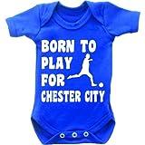 Born To Play Football pour Chester City Combinaison Body bébé manches courtes pour femme Motif Grow en bleu royal et blanc - Bleu - 0-3 mois