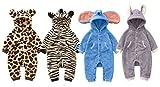 Baby Strampler Kuschel Tiere 'Fleece'   Babystrampler langarm   Giraffe, Zebra, Elefant, Hase, Größe:18-24 Monate;Modell:Elefant - 2