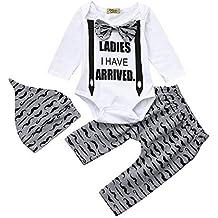 3pcs Niño pequeño bebé Carta impresión Mamelucos+Pantalones +Sombreros Ropa Trajes ...