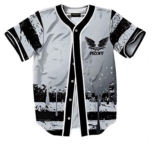 Pizoff camicia baseball stampa foglia - 3d hip hop uomo a maniche corte grigia