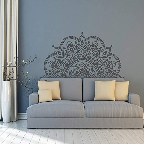 yiyiyaya Vinyl Wall Decal Half Mandala Wandbild Aufkleber Yoga Lover Geschenk Home Kopfteil Dekor Interior Design Schlafzimmer Decals Art rot 57x28 cm