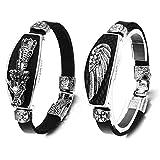 Aroncent 2PCS Herren Damen Armband, Fliegende Drachen Kopf Engel Flügel Armband, Kunstleder Legierung Armreif Armkette, Schwarz