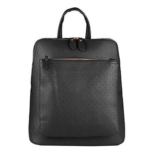 OBC Damen Rucksack Tasche Backpack Cityrucksack Leder Optik Stadtrucksack Daypack Schultertasche Handtasche Umhängetasche tagesrucksack (Schwarz 32x32x14 cm) -