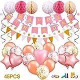lenbest 45 PCS Geburtstagsdeko, Geburtstag Dekoration, Happy Birthday Girlande, Geburtstag Party Dekorationen Set mit eine Vielzahl von Ballons, Pfeife, Kleber Wasserpunkt, Glitterband