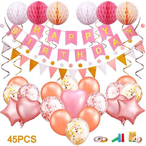 tstagsdeko, Geburtstag Dekoration, Happy Birthday Girlande, Geburtstag Party Dekorationen Set mit eine Vielzahl von Ballons, Pfeife, Kleber Wasserpunkt, Glitterband ()
