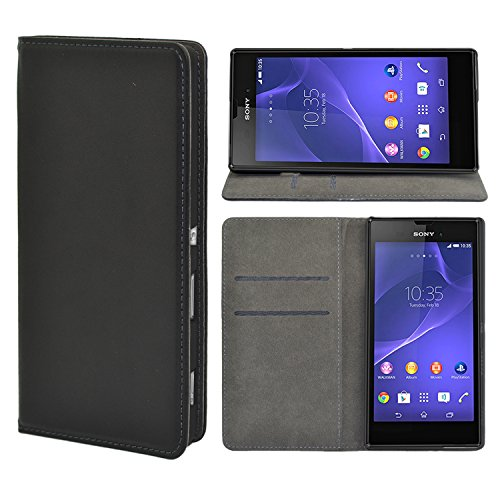 iProtect Sony Xperia Style, Xperia T3 Kunstleder Tasche im Bookstyle schwarz Schutzhülle mit integriertem Magnetverschluss