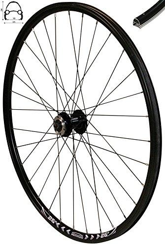 REDONDO 26 Zoll Vorderrad Laufrad Fahrrad V-Profil Felge Schwarz 6 Loch Disc (Fahrrad Felgen 26)