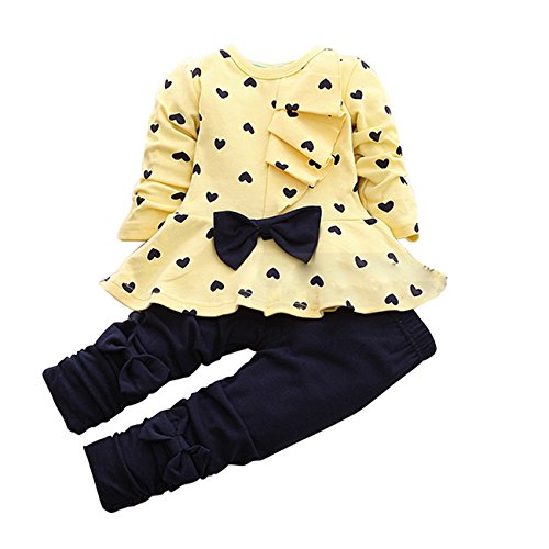 DongDong Mädchen Prinzessin Bowknot TuTu Herz-förmige Print Outfit Zweiteiliger (Hello Tutu Outfit Kitty)