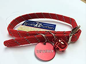 Spoilt Rotten Pets **RED REFLECTIVE SOFT WEAVE COLLAR ** Quality Cat Collar with Matching Bell ** Buckle Fasteniasticated & Reflective
