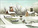 Leinwandbild 80 x 60 cm: Der Winter von Henri Rousseau/ARTOTHEK - fertiges Wandbild, Bild auf Keilrahmen, Fertigbild auf echter Leinwand, Leinwanddruck