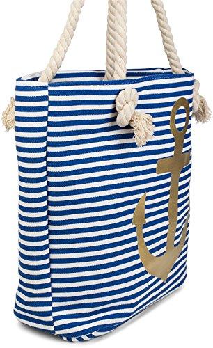 styleBREAKER borsone da spiaggia a righe con ancora, borsa scolastica, borsa per shopping, donna 02012038, colore:Nero-Bianco / Oro Blu-Bianco / Oro