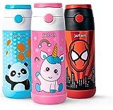 Jarlson - Borraccia per Bambini, in Acciaio Inox, Bottiglia per l'acqua, a prova di perdite, Senza BPA, con Cannuccia, termos, 350 ml