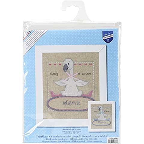 Vervaco Birth Record Goose with Bow Counted Cross Stitch Kit, Multi-Colour