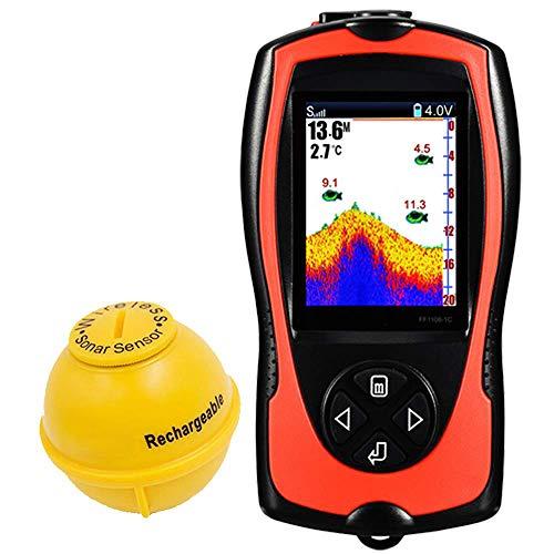 AI LIFE Transductor portátil para Buscar Peces Sensor de Sonar Buscador de Profundidad de Agua de 147 pies Sonda de Pantalla LCD Sonda Fishfinder Lámpara Atractiva con Peces para la Pesca